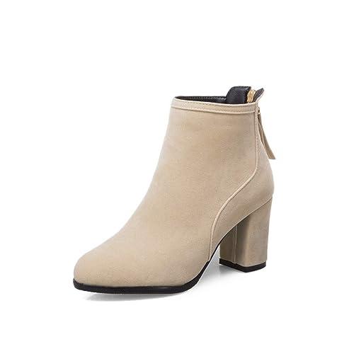 Botines de tacón Redondo con Punta Redonda y Botines Altos para Mujer: Amazon.es: Zapatos y complementos