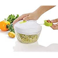 Alquila Superior Quality Handy Mini Plastic Chopper Vegetable Cutter with 3 Blades and Pull Handle Food Processor Chilly Dori Choppers Fruit Onion Cutter,Vegetables Cutters for Kitchen (Multicolor)