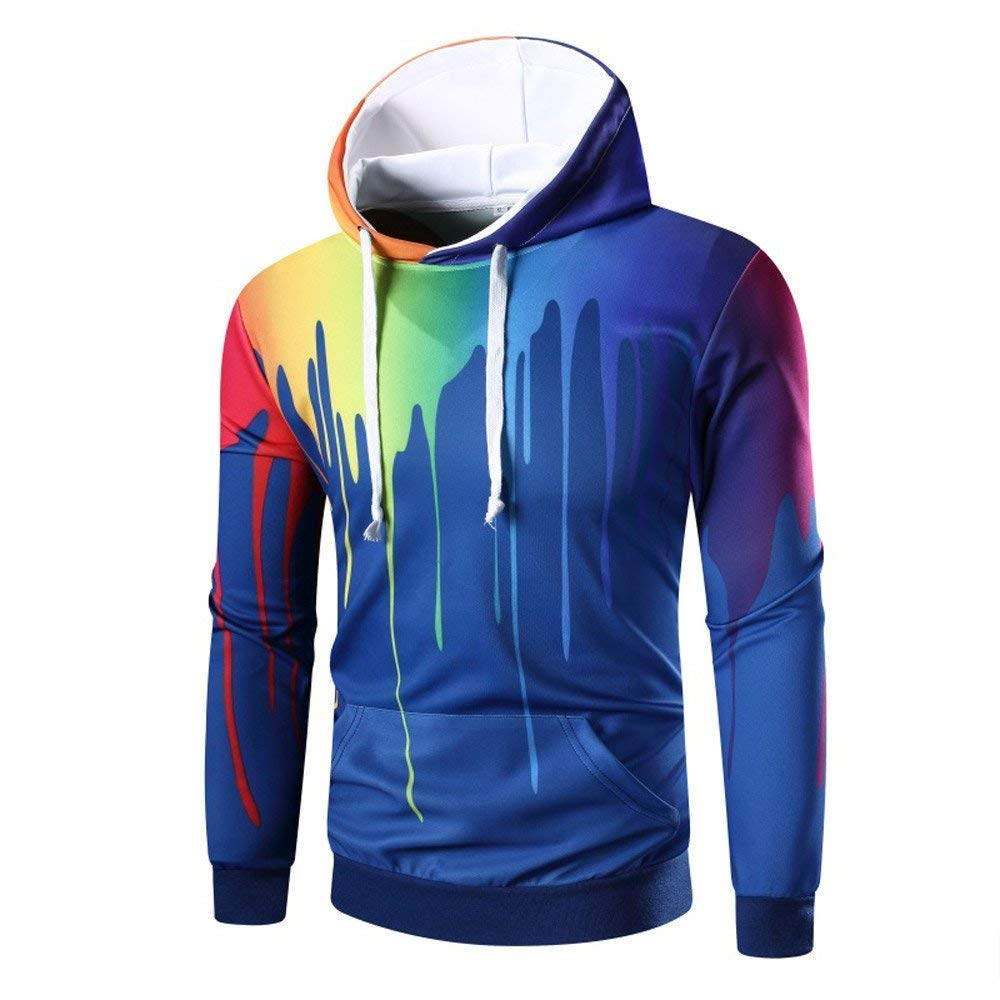 Tricega Men 3D Print Digital Printed Pullover Sweatshirt Hoodies with Big Pockets White Medium