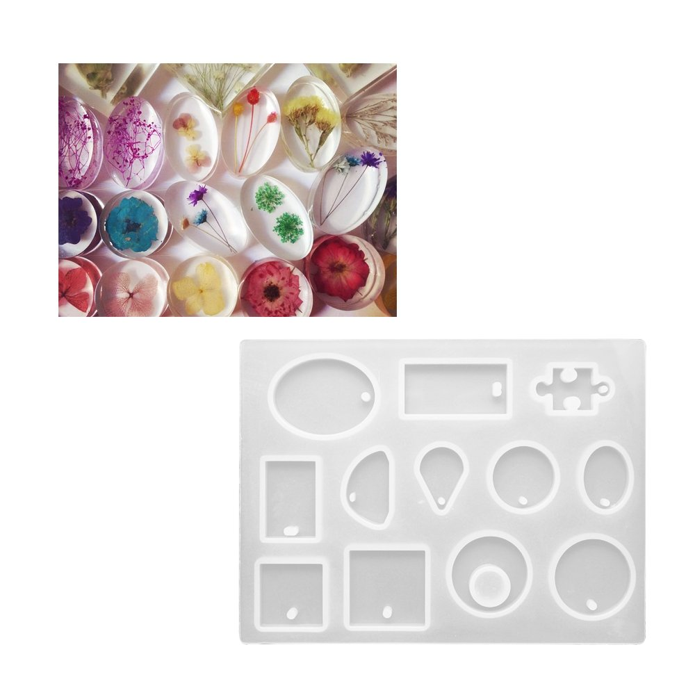 Amazon.com: Meetory 3 Set Resin Casting Molds Silicone Resin Jewelry Assorted Styles with 50 Pieces Eye Screw for Making Pendant Earrings Jewellery DIY: ...