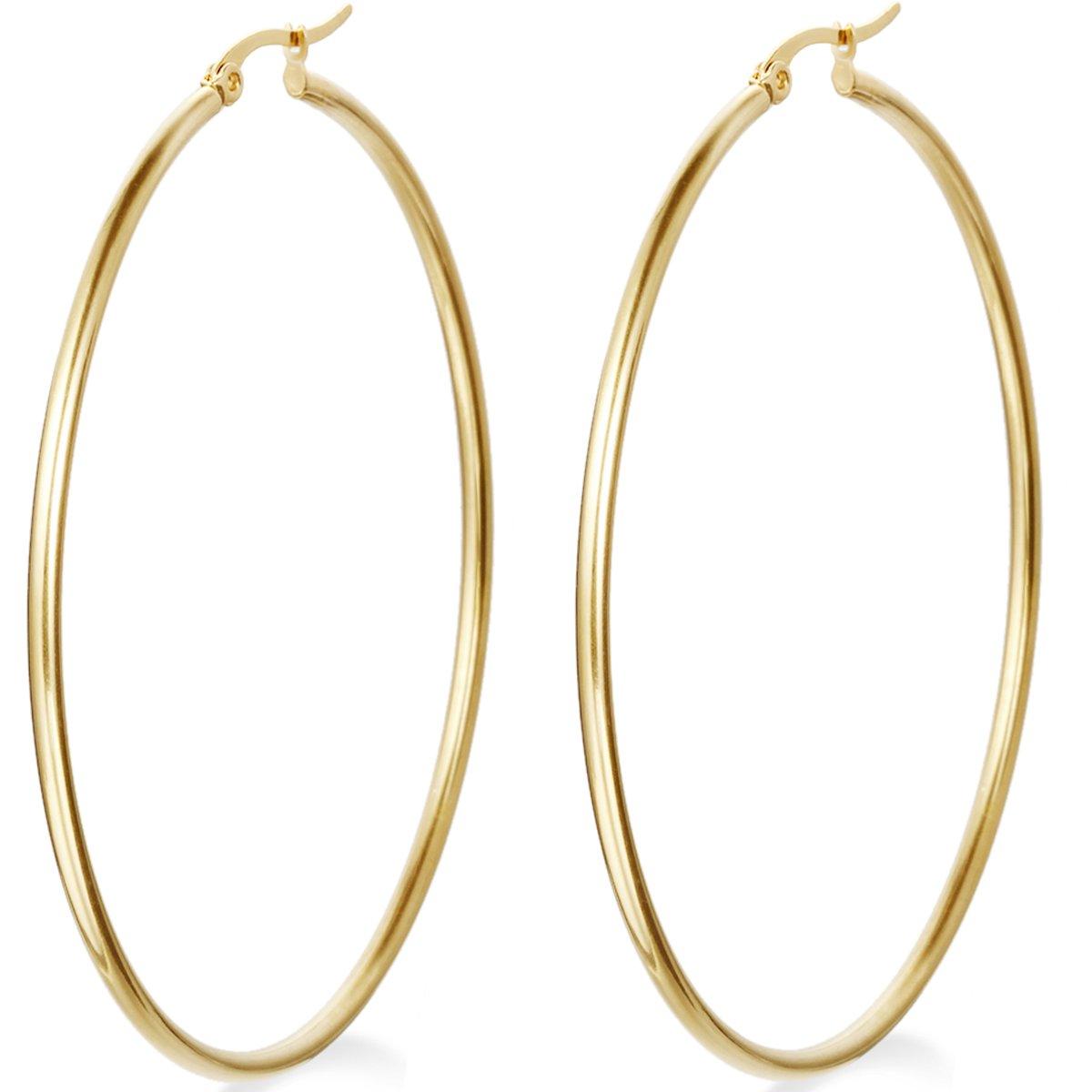 Flongo Women's Stainless Steel Gold Big Large Round Plain Anti-allergy Hoop Loop Earrings FLG05329