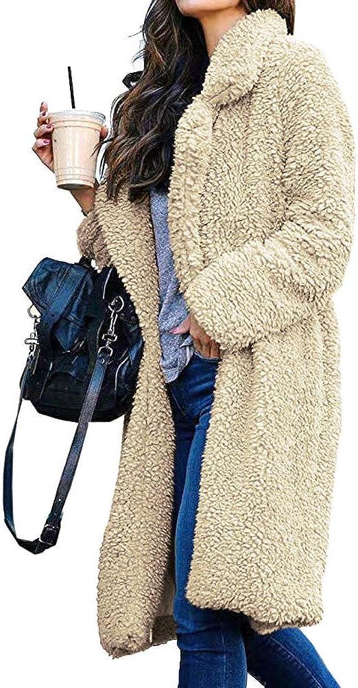 Womens Fashion Long Sleeve Faux Fur Shearling Shaggy Oversized Coat Fuzzy Jackets Warm Winter