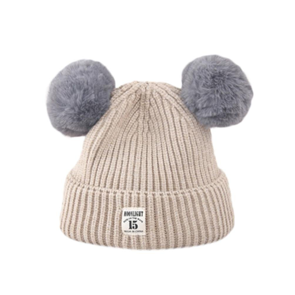 Amazon.com  Kollmert Kids Baby Boy Girl Cute Ball Cap Keep Warm Winter Hats  Knitted Wool Hemming (Beige)  Clothing fda56f02d3d