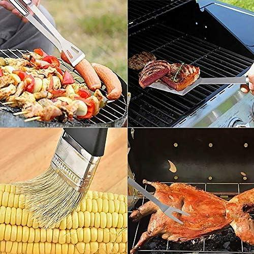 JTWEB kit ustensile Barbecue,Outils de Barbecue en Acier Inoxydable Portable Accessoire Barbecue pour Grillades - Lot de 9 avec Sac de Rangement en Oxford