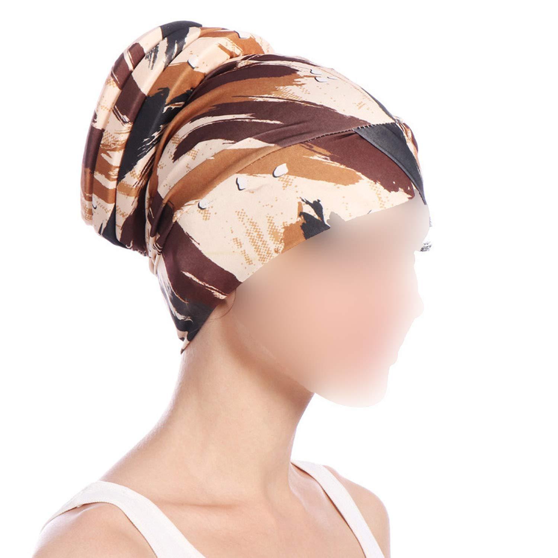Crystal Women Printed India Hat Muslim Ruffle Cancer Chemo Beanie Scarf Turban Wrap Cap