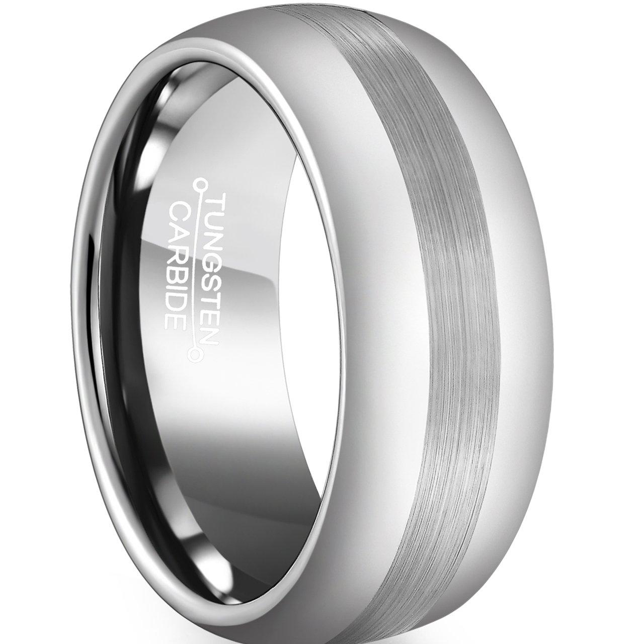 FCL Tungsten Ring 8mm Men Wedding Band Matte Brushed Center Size 7-13