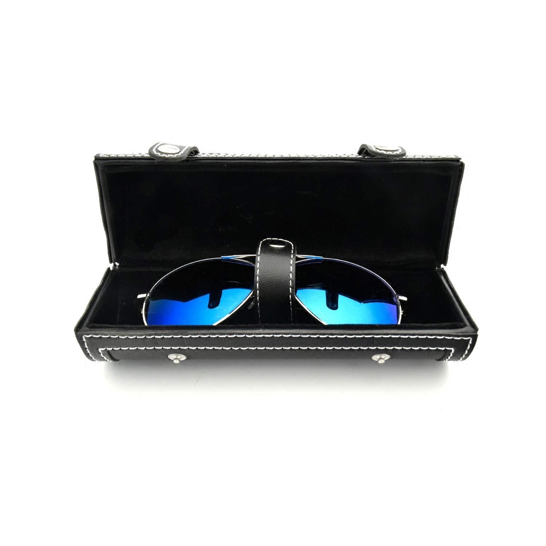 Round Leather Double-layer Glasses Box Sunglasses Cases Eyeglasses Boxes Hard,Black