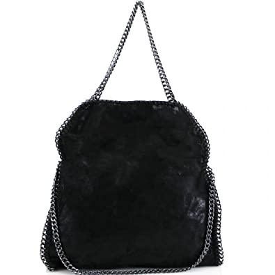 d22ca14ec12a Womens Stella Designer Frame Chain Detail Tote Bag Ladies Shoulder Handbag  Work New Black