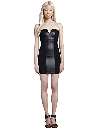 Amazon David Lerner Faux Leather Contrast Colorblock Dress