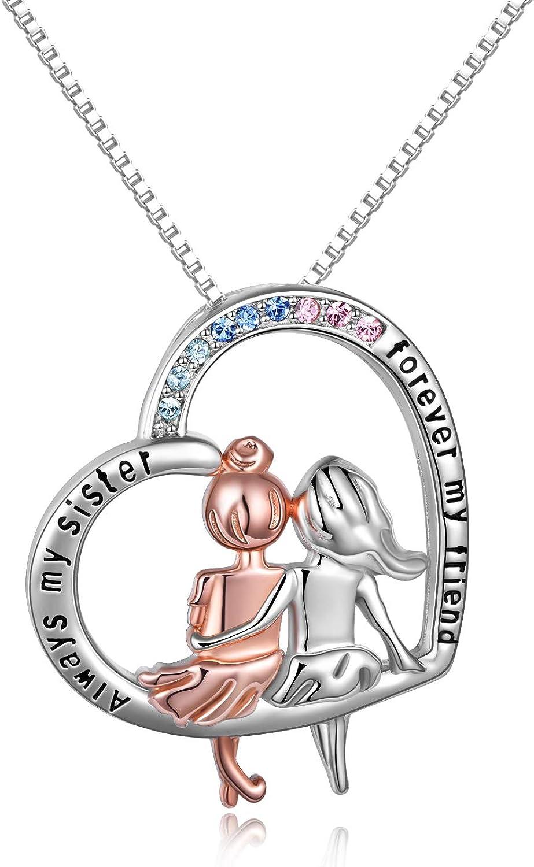 Collar de plata de ley 925 para mujer «Always My Sister Forever My Friend», colgante de corazón con texto en inglés «Always My Sister Forever My Friend»