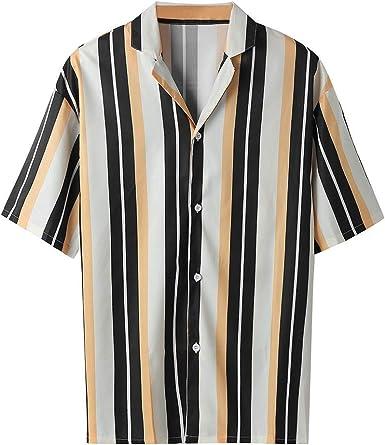 Luckycat Camisa a Rayas para Hombre - Moda Manga Corta Cuello Mao ...