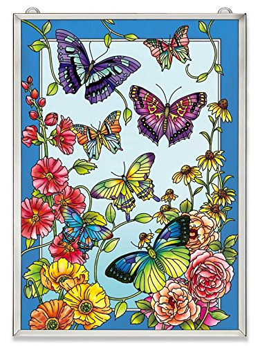 Amia Butterfly and Floral Glass Window Décor Panel, 15-1/2, Multicolor