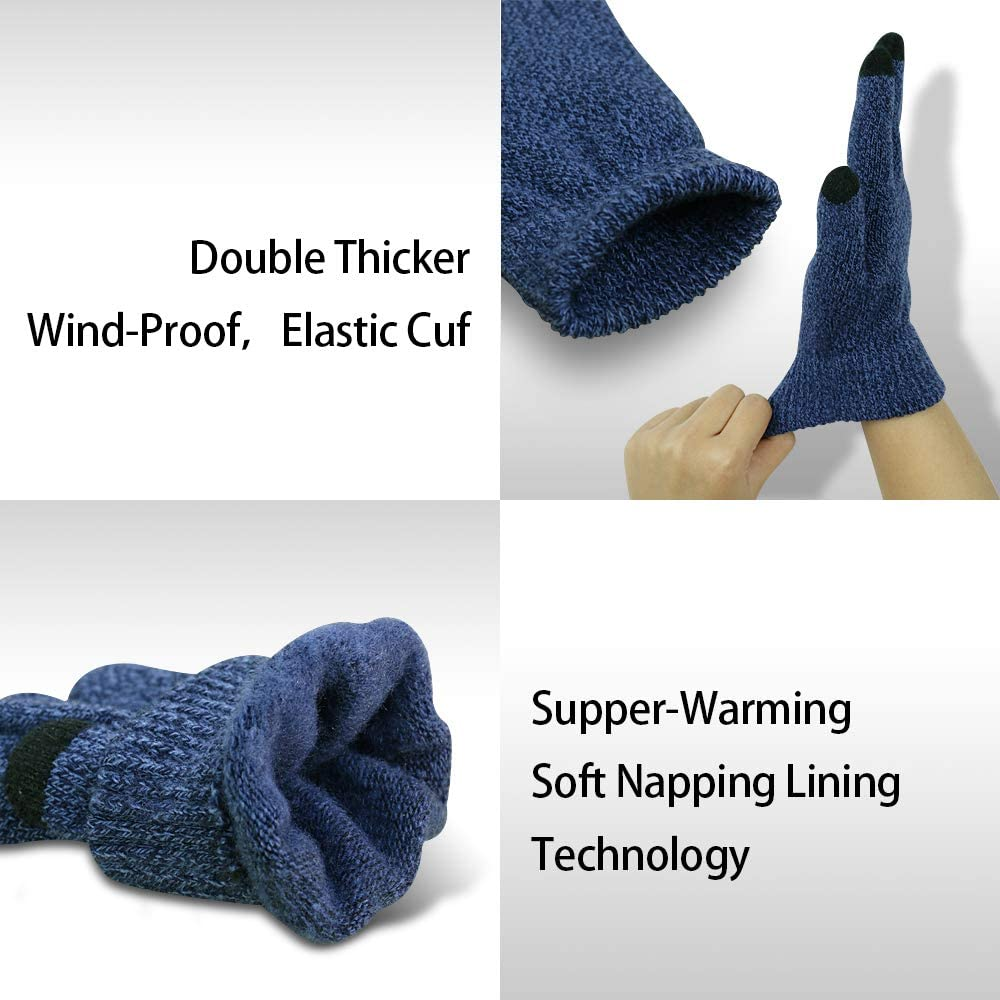 Kids Touchscreen Gloves 2 Pair,Knit Texting Gloves Winter Gloves for Boys/&Girls
