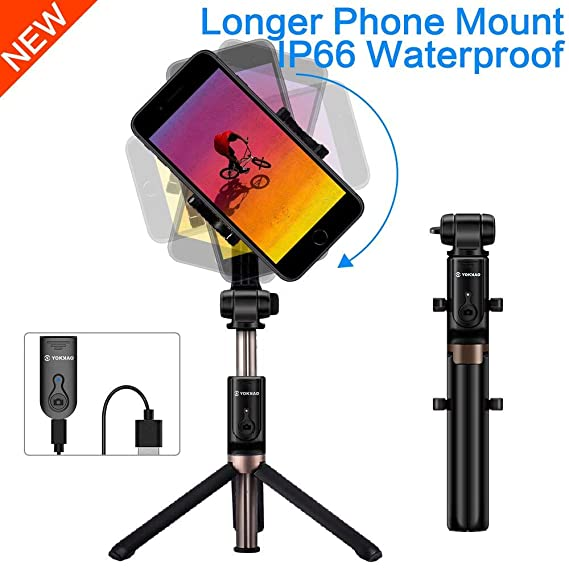 quality design f7a88 92f0d YOKKAO [Upgraded Version] Certified IP66 Waterproof Bluetooth Tripod Selfie  Stick Portable Foldable Compatible with iPhone Xs MAX/XR/XS/X/8/8 ...