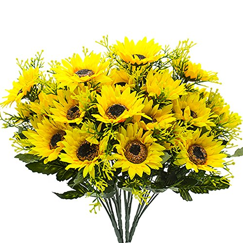 YISNUO Artificial Flowers, Fake Sunflowers Silk Flowers Table Centerpieces Arrangements Home Indoor Decorations Wedding Party Decor
