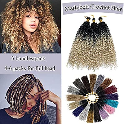 Marlybob Crochet Braids Hair Extensions Synthetic Deep Water Wave Marlibob Hairpiece Afro Jerry Curl Kinky Curly Twist Braiding Weave Hair For Black