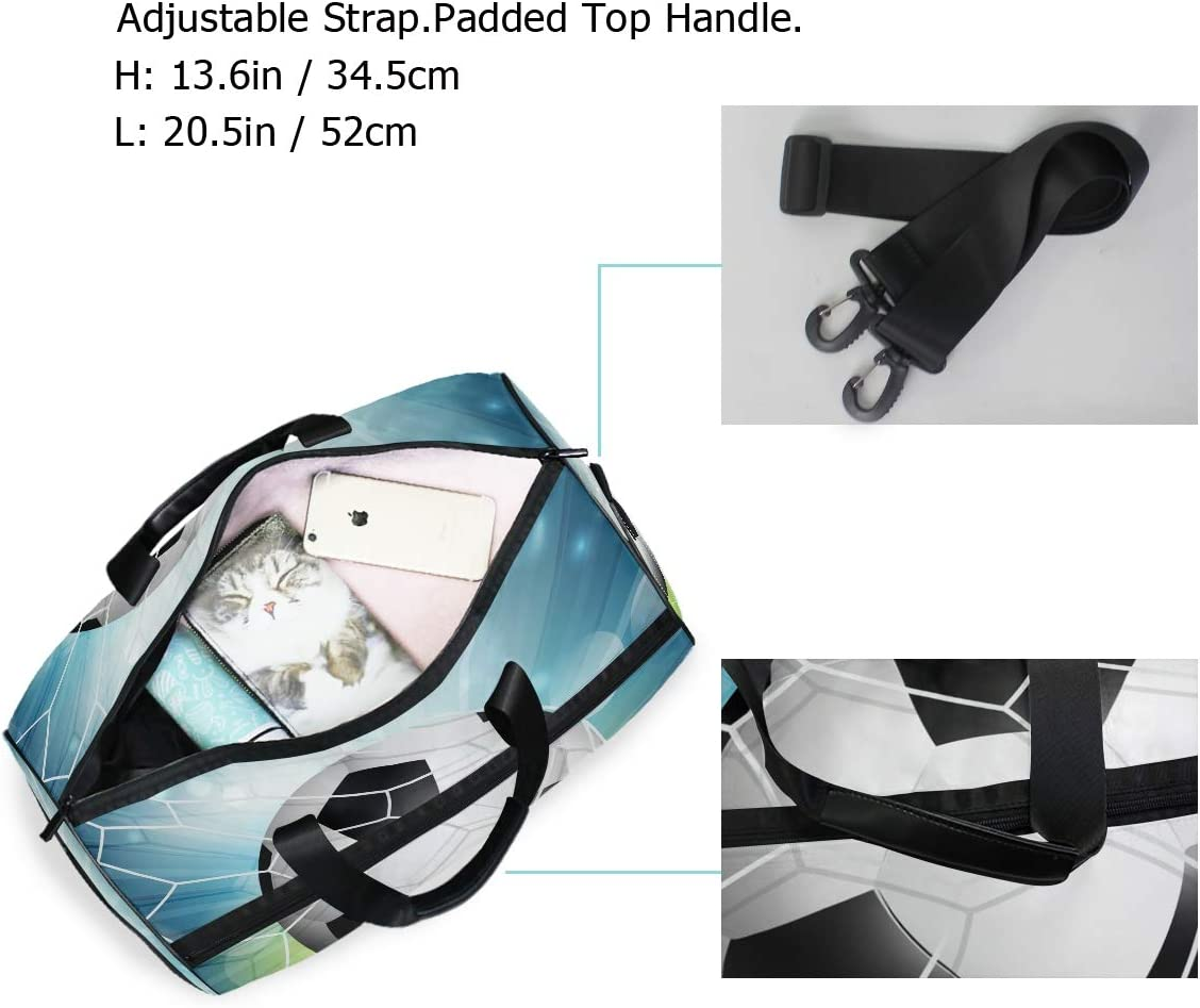 Travel Duffels Football Pattern Duffle Bag Luggage Sports Gym for Women /& Men