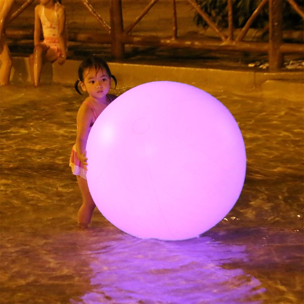 Swing Ball 1 Pack 32 Inch (80cm) PVC Waterproof Floating RGB LED Balloon Light Outdoor With Rechargeable Battery Light Up By Touch