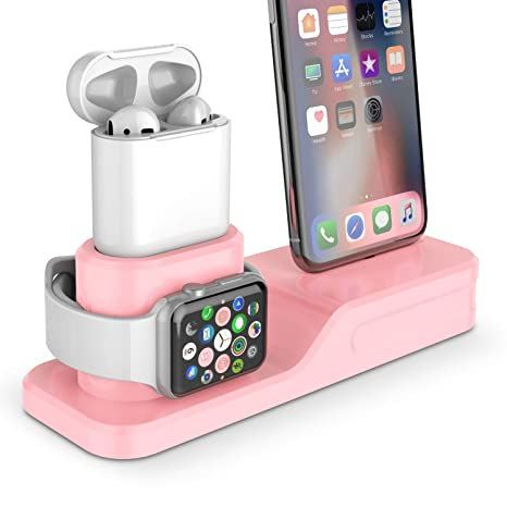 10e4ba19a45 Amazon.com: Charging Stand, Coffea 3 in 1 Charging Station Compatible Apple  Watch Series 4/3/2/1 Silicone Charging Dock Holder for iPhone and AirPods  ...