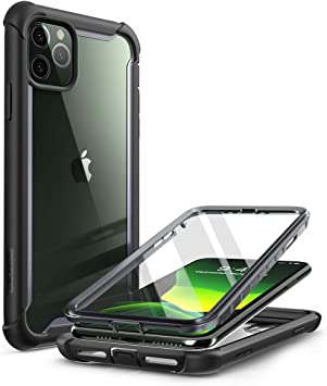 i-Blason Ares Coque pour iPhone 11 Pro Max version 2019, double couche robuste transparente avec protection d'écran intégrée (Noir)