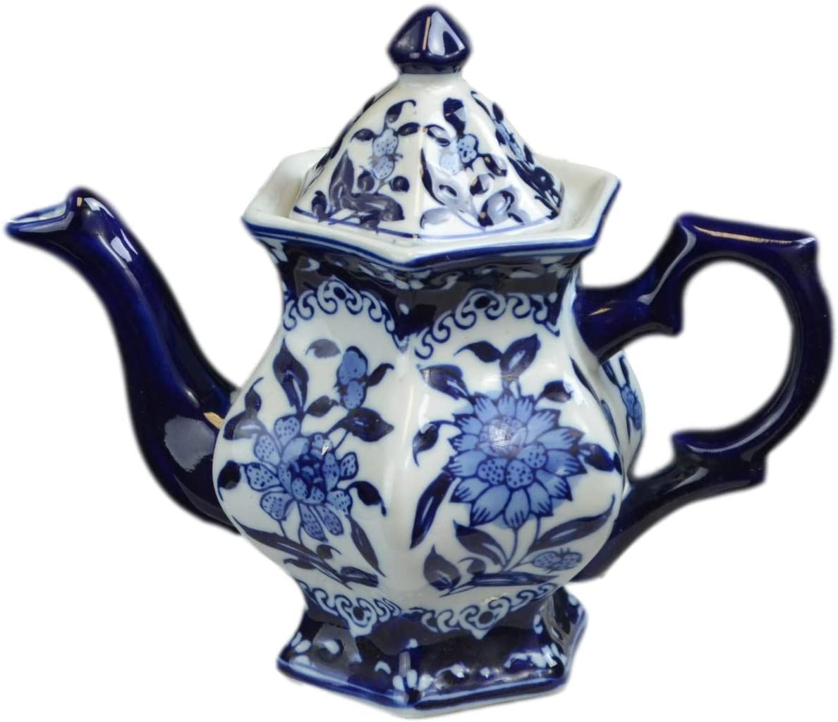 Coffee Pot, Hexagonal Teapot Blue and White Porcelain 16 Ounce China