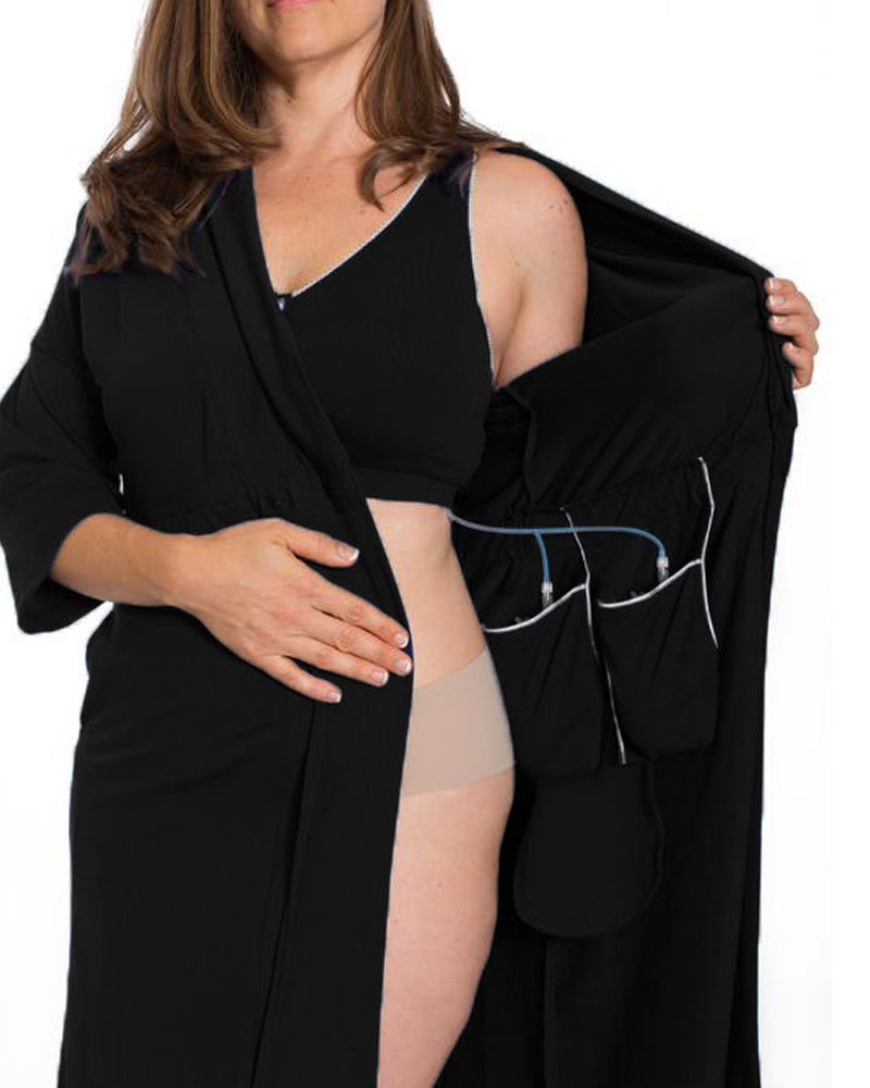 Recovery Robe for Breast Cancer/Surgery Recovery (Small, Black)