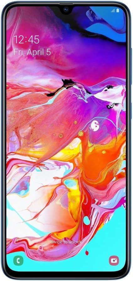 "Samsung Galaxy A70 (128GB, 6GB RAM) 6.7"" in-Screen Fingerprint, 25W Super-Fast Charger, US + Global 4G LTE GSM Unlocked International Model A705MN/DS (Blue, 128GB + 128GB SD + Case Bundle)"