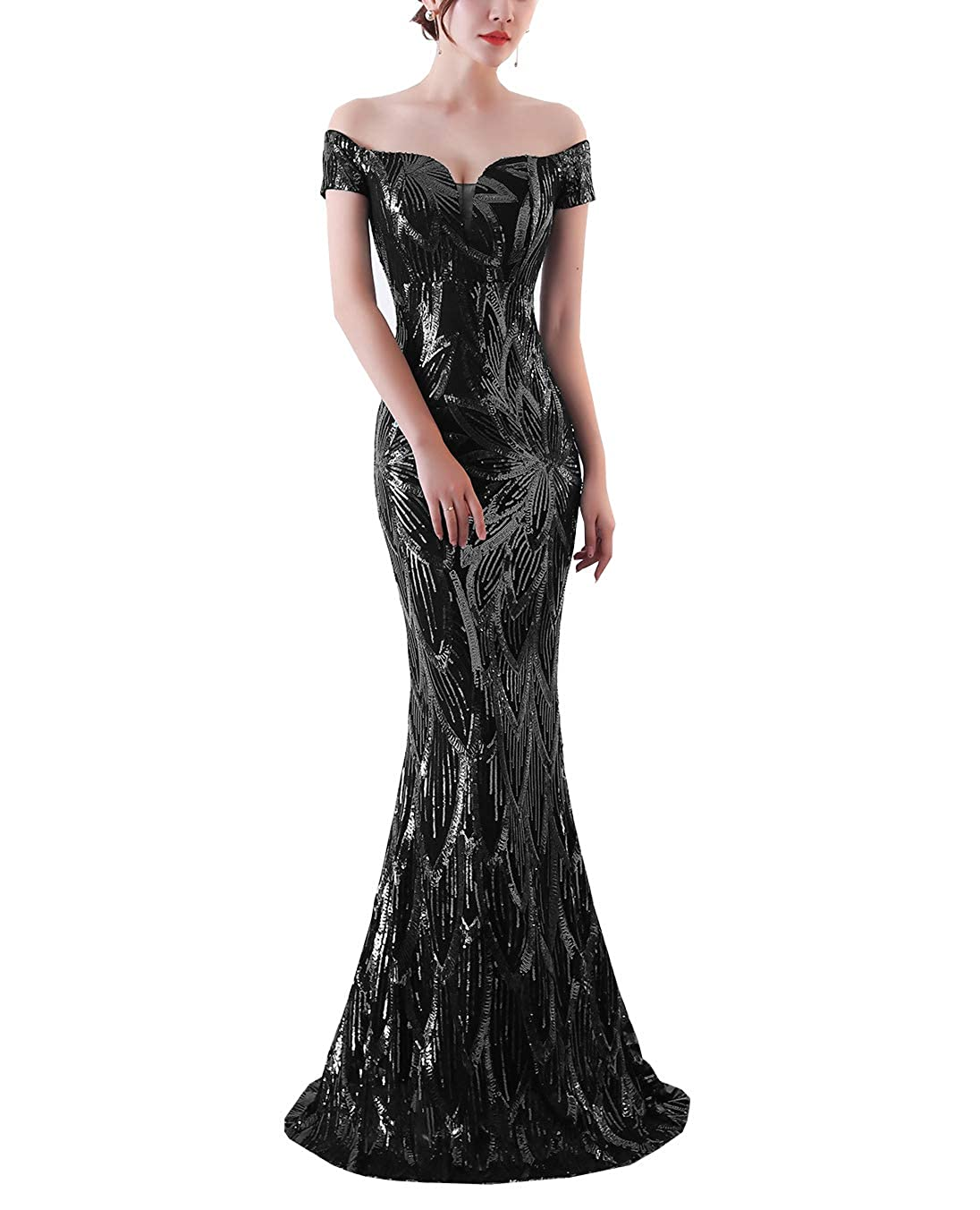 Black Women's Sexy Sweetheart Sequins Mermaid Long Evening Dresses Prom Gown for Party