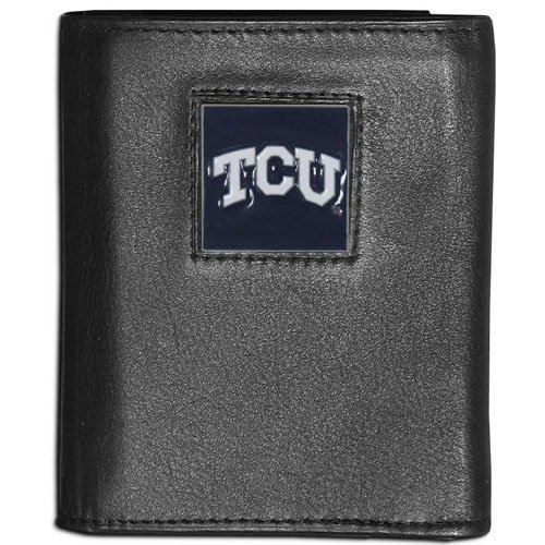 NCAA TCU Horned Frogs Leather Tri-fold Wallet Canvas Lined