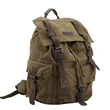 Koolertron Multi Function Vintage Women Men Unisex Canvas Backpack Leather Trim Book Bag Rucksack Shoulder