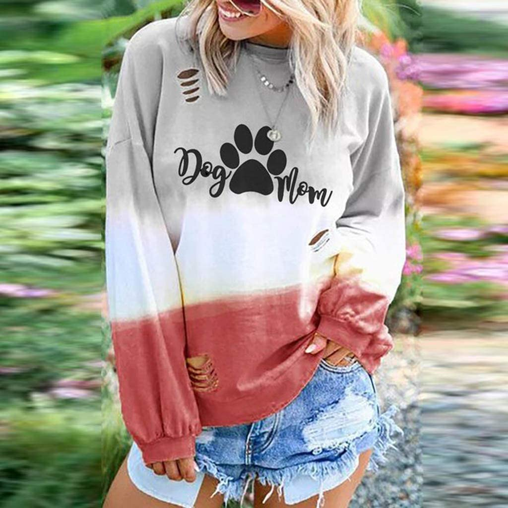 Women Blouse Shirt Pet Dog Mom Print O-Neck Gradient Tie-dye Color Long Sleeve Tops Evangelia.YM