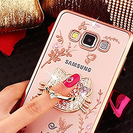 for Samsung Galaxy, Pink Hello Kitty Diamante Flowers Luxury Fancy Bling Crystal Rhinestone Diamond Case Cover with Ring Stand ~ Accesorios Estuche ...