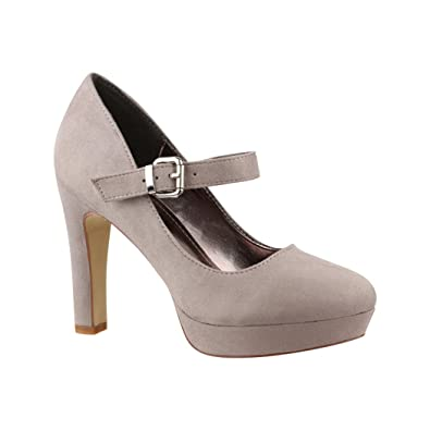 84142dbd4814 Elara Women s Ankle Buckle Plateau Pumps  Amazon.co.uk  Shoes   Bags