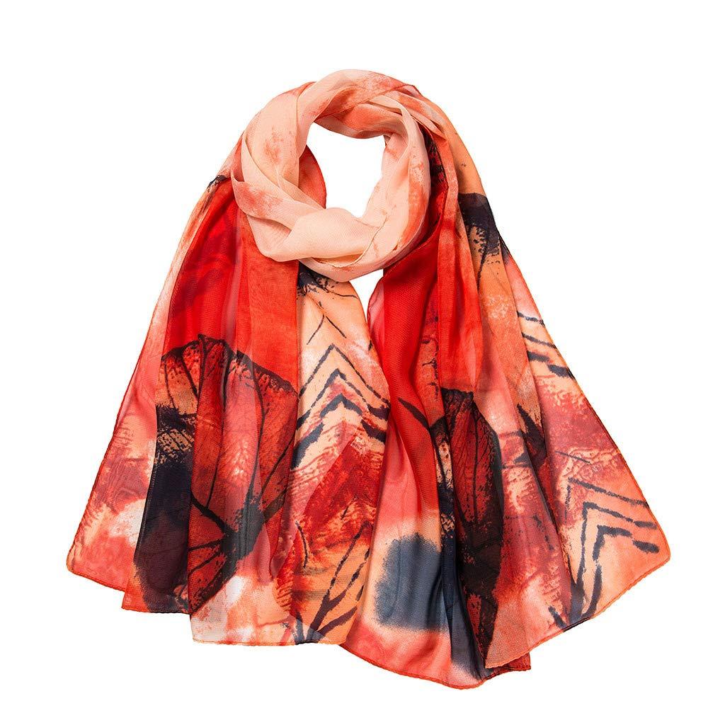 LIULIULIU Fashion Fantasy Women Leaves Printing Long Soft Wrap Scarf Ladies Shawl Scarves (Orange)