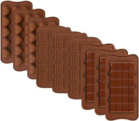 PUDSIRN 9 moldes de Silicona para Chocolate, Barra de proteína y energía Antiadherente Que se Separa, moldes para Hacer Chocolate para Chocolate, ...
