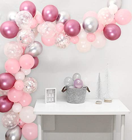 Snowflake Balloon Garland 104 Pack Winter Wonderland Party Decorations Pink And Silver For Baby Shower 1st Birthday Or Baby Its Cold Outside