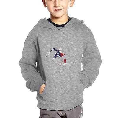 Alpine Skiing American Flag Unisex Baby Boys Pullover Hoodies Long Sleeve Sweatshirts With Big Pockets