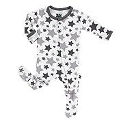 KicKee Pants Unisex Essentials Print Footie- Feather/Rain Stars, 3-6 Months