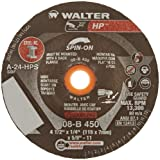"""Walter HP Grinding Wheel, Type 27, Threaded Hole, Aluminum Oxide, 4-1/2"""" Diameter, 1/4"""" Thick, 5/8""""-11 Spin-On Arbor, Grit A-24-HPS (Pack of 20)"""