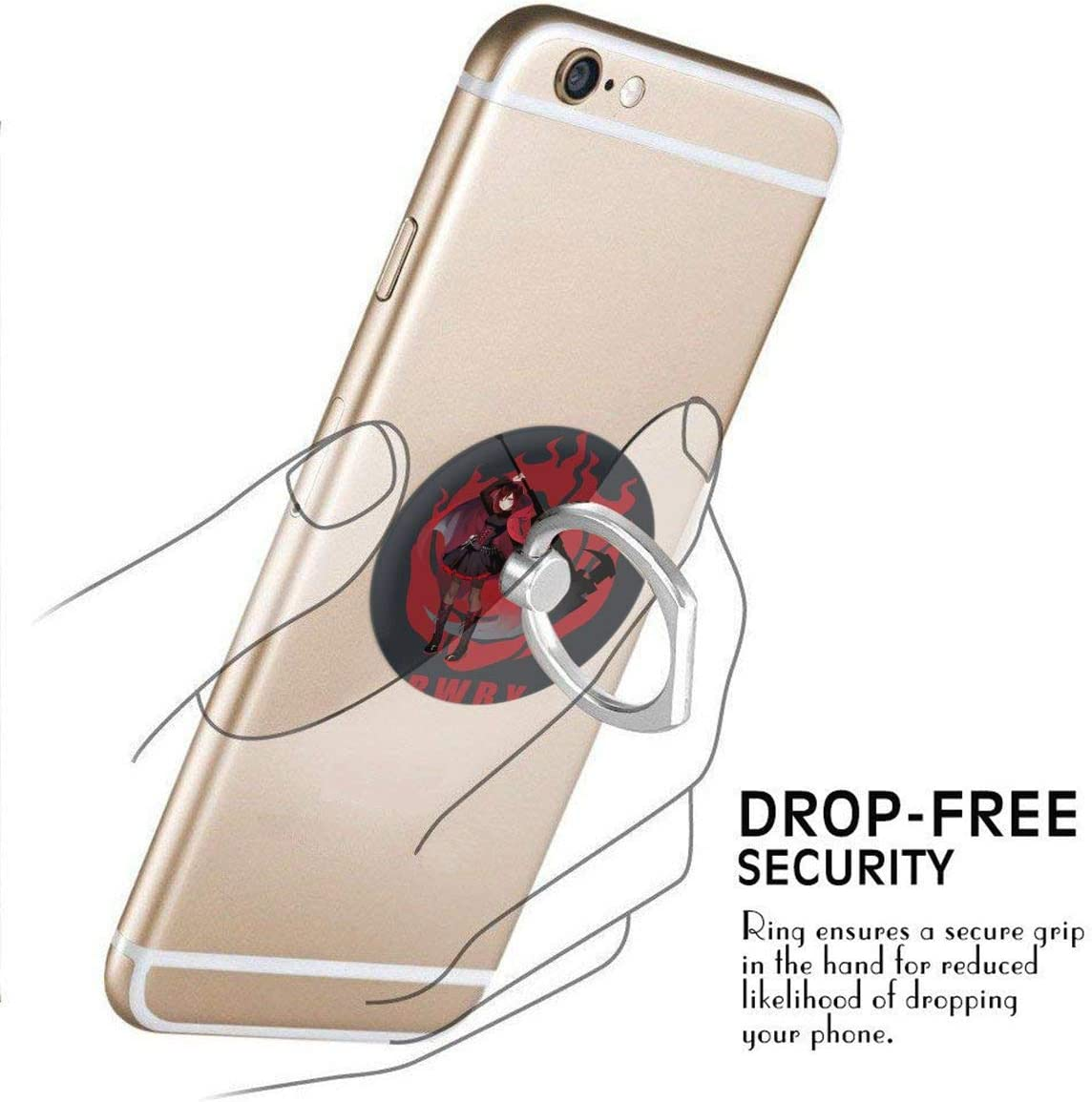 iPhone Or Tablets BBABC RWBY Ruby Rose 360 Degree Rotating Finger Ring Stand Holder Phone Holder for Any Smartphones