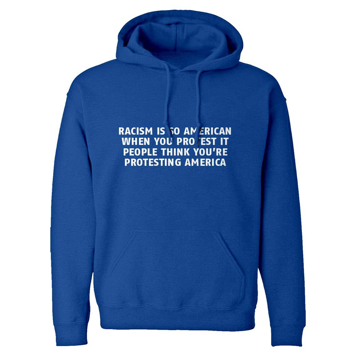Indica Plateau Hoodie Racism is so American Small Royal Blue Hooded Sweatshirt