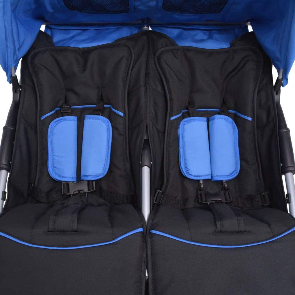 yorten Carrito para Gemelos de Acero con Respaldo Cochecito Doble Estructura de Acero Vers/átil Azul y Negro 93 x 68 x 103 cm