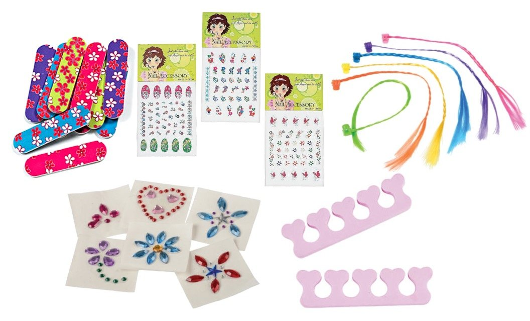 Nikki's Knick Knacks 72 Piece Spa Party Favors for Girls- Toe Separators, Emery Boards, Nail Decals, Hair Braid Clips, and Body Jewels