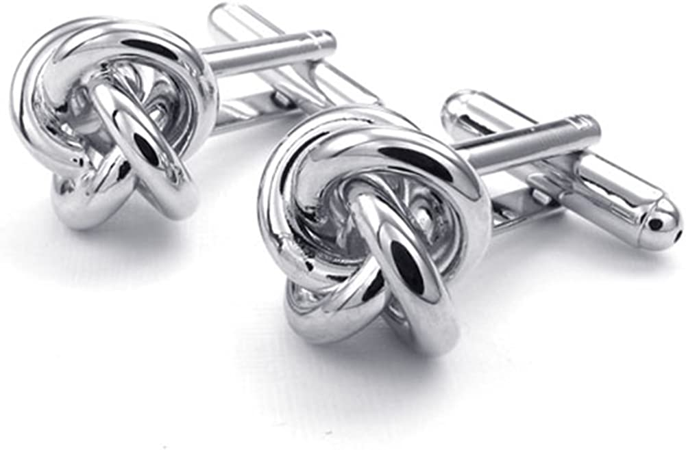 TEMEGO Jewelry Mens 2pcs Rhodium Plated Polished Flower core Wedding Cufflinks Shirt Cufflinks, Silver