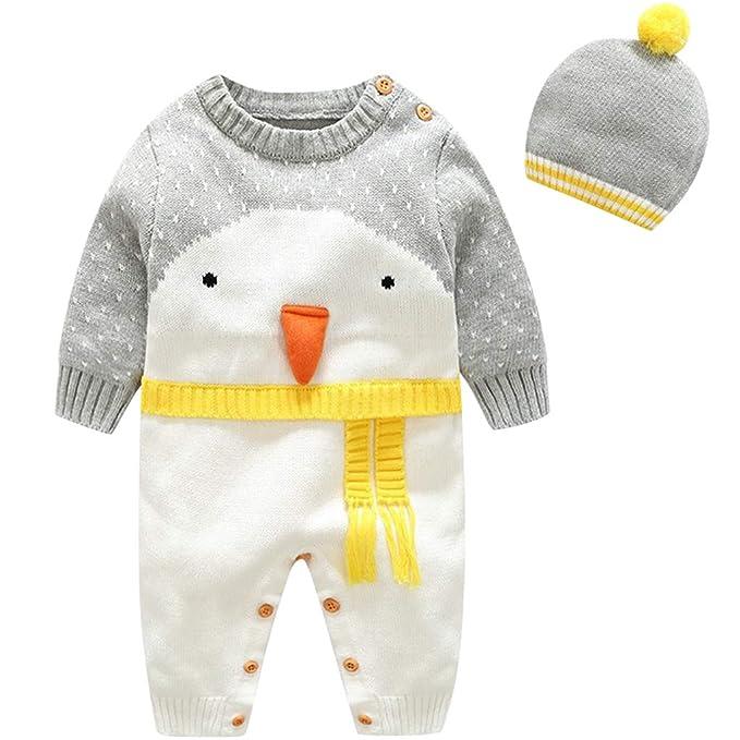 Bebe Mameluco Niños Jersey Navidad Mono - Pijama Invierno Bebé Niñas  Algodón Conjunto de Ropa con Gorra Cálido Manga Larga Suéter Traje de  Dormir Onesie  ... 5a00899a7d6d