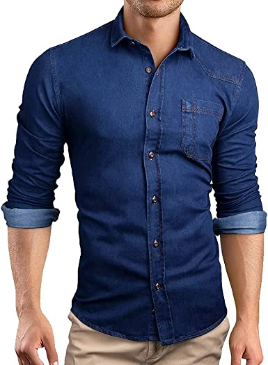 Camisa Vaquera de Manga Larga con Bolsillo de Color sólido para Hombre Abrigo Fino de Mezclilla Shirt Casual Solapa Slim fit Superior cómodo Top Camisas: Amazon.es: Ropa y accesorios