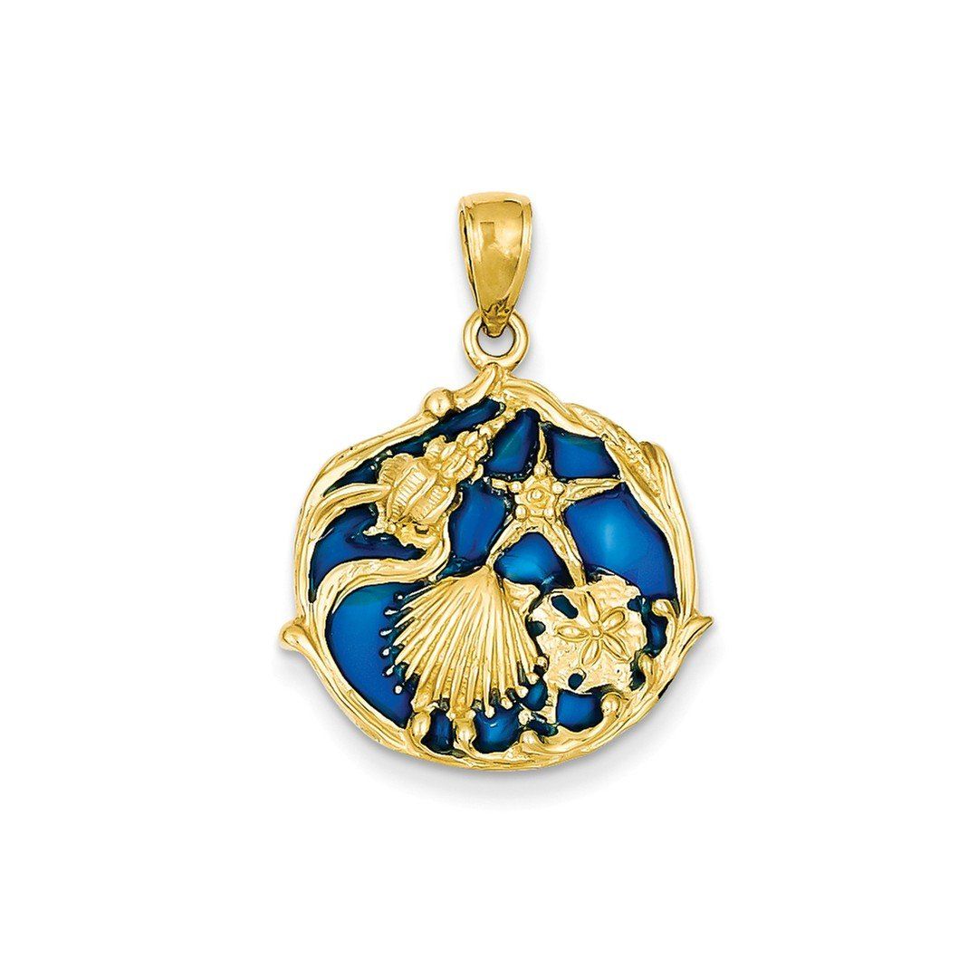 ICE CARATS 14k Yellow Gold Blue Stained Glassed Sea Shell Mermaid Nautical Jewelry Cluster Pendant Charm Necklace Shore Fine Jewelry Gift Set For Women Heart