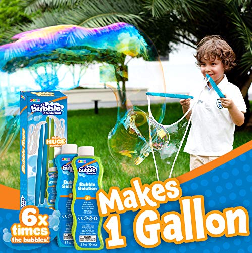 2 Giant Bubble Wands with 2 CONCENTRATED Bubble Refill Solution (Make 1 Gallon Total) for kids, Big Large Bubble Maker in Backyard, Outdoor Water Toy Game Activities, Birthday, Summer Party Favor. (Backyard Bubble)