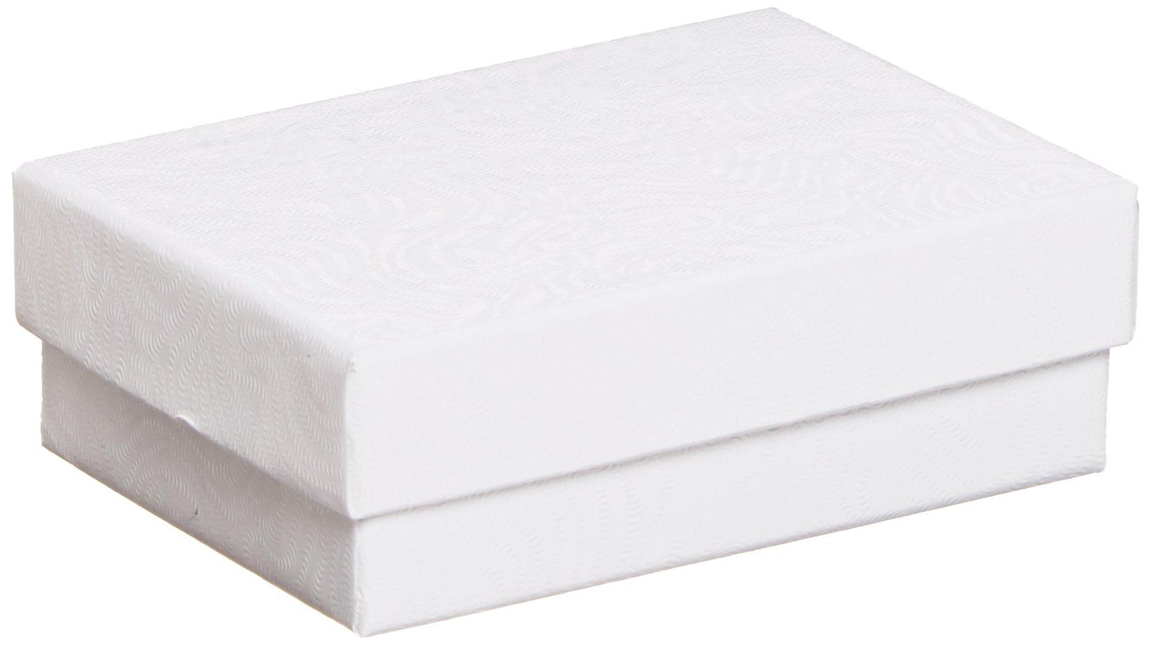 Aviditi JB321W Rigid Fiberboard Jewelry Box, 3-1/16'' Length x 2-1/8'' Width x 1'' Height, White (Case of 100)