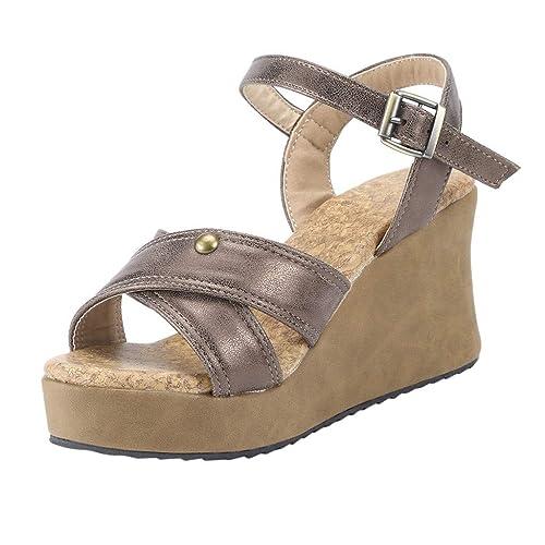 aec134502cfea4 Chaussures Femme-Sandale Femme Talon Compense Printemps-éTé,Pas Cher  Bout